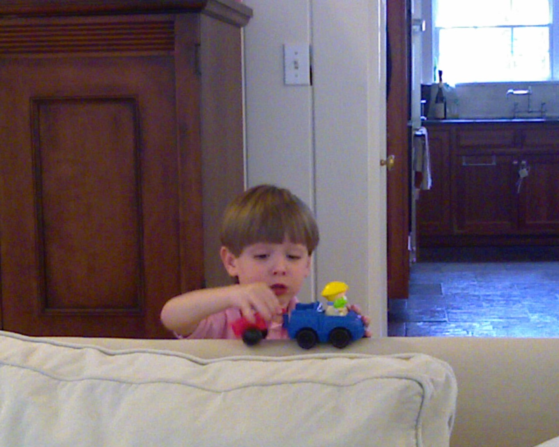 Macgregor playing with the tractor
